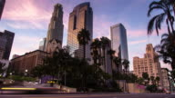 Pershing Square and Downtown Los Angeles Financial District Skyline Timelapse