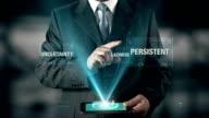 Persistent Success Concept Businessman using digital tablet technology futuristic background