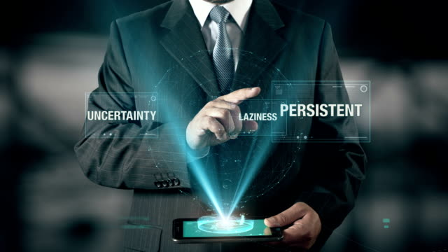 Persistent Success Concept Businessman using digital tablet technology futuristic background