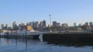 A person boards the Winthrop ferry, Boston.