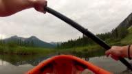 POV of person kayaking across mountain marshland