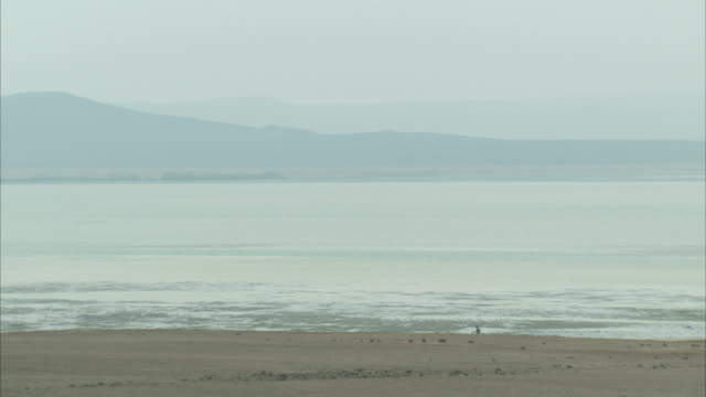 A person walks across mudflats in the distance. Available in HD.