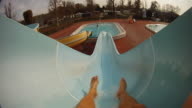 HD SLOW MOTION: Personal Perspective On A Waterslide