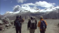 Peru Andes A group walking