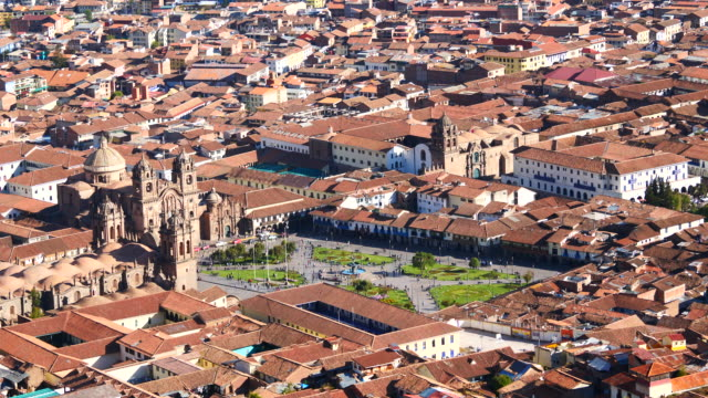 Peru, Cusco, a view of Plaza de Armas, Cuzco from the white Christ Hill