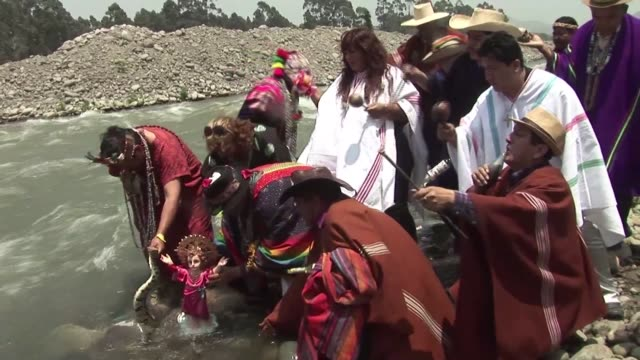 Peruvian shamans gather in Lima to pray the spirits and ask them for protection against the socalled 'El Nino' phenomenon a cycle of warm and cold...