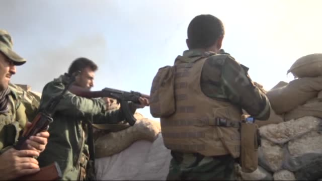 Peshmerga forces belonging to the Kurdish Regional Government attack the Sinjar town of Mosul Iraq during an operation carried out to clear the...