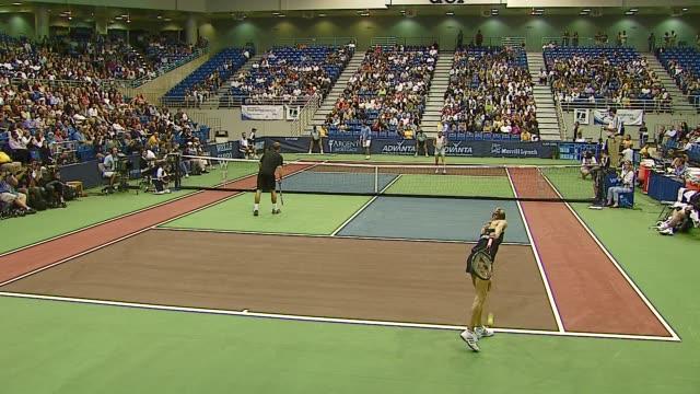 Pete Sampras Anna Kournikova Andy Roddick and Rennae Stubbs at the Advanta Presents WTT Smash Hits Celebrity Tennis Tournament at Bren Center...