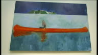 Peter Doig exhibition opens in Edinburgh Doig interview SOT Side view Doig Men in canoe painting on gallery wall Paintings depicted people in canoes...
