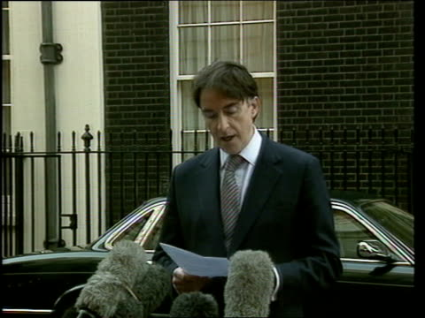 Peter Mandelson resigns from Cabinet ENGLAND London Downing Street Outgoing Northern Ireland Secretary Peter Mandelson MP from Number 10 PAN as...