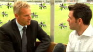 London Lord's EXT Peter Moores talking to reporter Peter Moores interview SOT Twenty20 match between England and West Indies is very exciting / The...