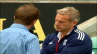 Peter Moores interview General view of Oval pitch stands and pavilion Peter Moore standing on pitch talking with reporter General views of The Oval...