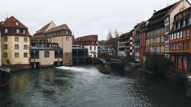 Petite-France water canals in historic area of Strasbourg, France
