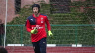 Petr Cech training with Arsenal in Singapore