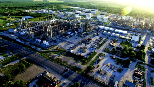 Petrochemical Oil Refinery Creating Dirty Energy Fossil Fuel Industrial Revolution