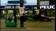 EXT Sign on petrol station forecourt for ULSP fuel / Elf petrol station pumps / empty forecourt with unleaded petrol pumps / petrol pump / ultra low...