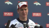 Peyton Manning press conference prior to game against Tom Brady and the New England Patriots Peyton Manning prepares for Patriots and Tom Brady at...