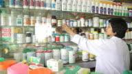 HD : Pharmacist is working at drugstore