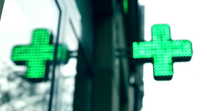 Pharmacy store, Green neon