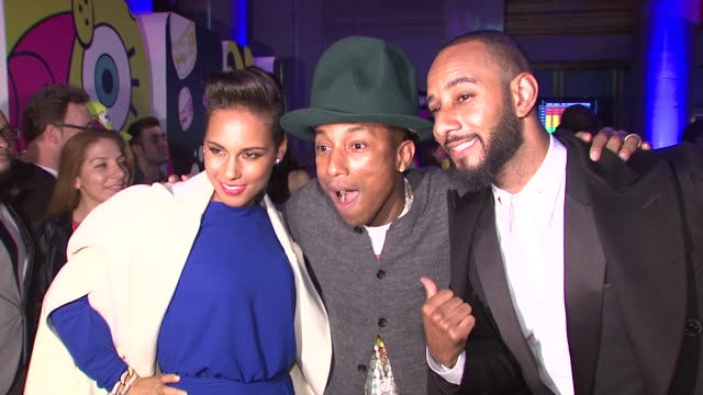 Pharrell Williams Alicia Keys Swizz Beatz at Pharrell Williams Celebrates 41st Birthday with SpongeBob SquarePantsThemed Party at Cipriani Wall...