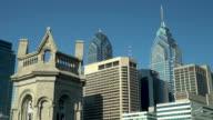 Philadelphia City Hall Clock Tower, Masonic Library & Museum, and the Philadelphia Skyline