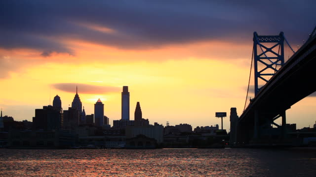 Philadelphia Skyline at Sunset, HD Video