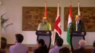 Philip Hammond and Arun Jaitley joint press conference in Delhi INDIA Delhi PHOTOGRAPHY** Philip Hammond MP and Arun Jaitley Question and Answer...