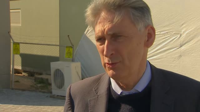 Philip Hammond interview at refugee camp TURKEY Adana EXT Philip Hammond MP interview SOT On Syria conference in London / on number of refugees...