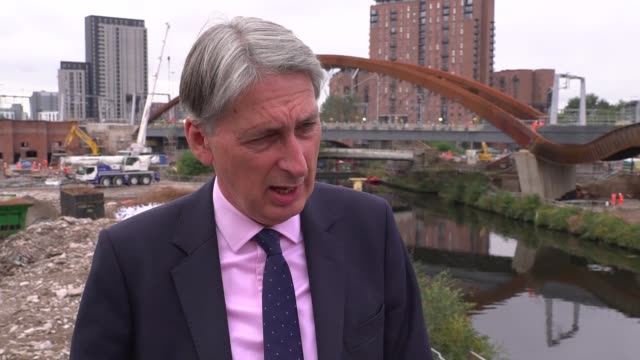 Manchester EXT Philip Hammond MP interview SOT re public sector pay cap / Brexit