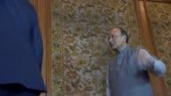 Philip Hammond meets Indian Finance Minister Arun Jaitley INDIA Delhi PHOTOGRAPHY*** Close shot UK and Indian flags / Philip Hammond MP and Arun...