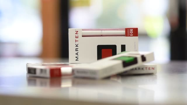 Philip Morris International Inc Marlboro brand cigarettes are arranged on counter at a gas station in Princeton Illinois US on Wednesday Oct 15 Close...
