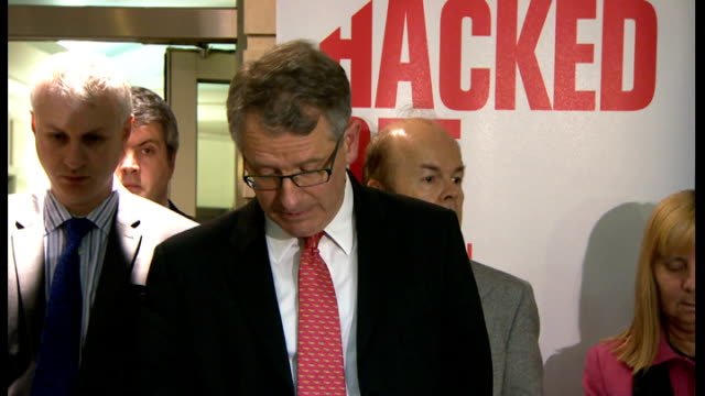 Hacked Off press conference ENGLAND London Westminster INT Members of the pressure group Hacked Off and victims of phone hacking by the media into...