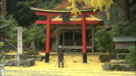 A photographer takes pictures outside a torii gate at the Iwato and Ochiba Shrines in Kyoto, Japan.