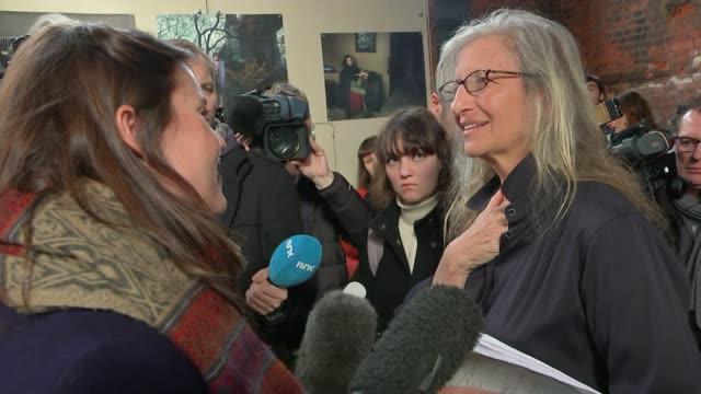 New Annie Leibovitz exhibition opens in London Leibovitz speaking to press SOT Leibovitz speaking to press at her new exhibition Leibovitz standing...