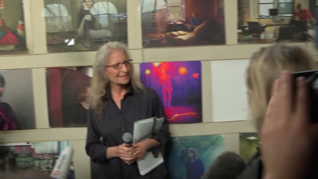 New Annie Leibovitz exhibition press launch INT Various of Annie talking with media about her work SOT / CUTAWAYS / Annie on balcony