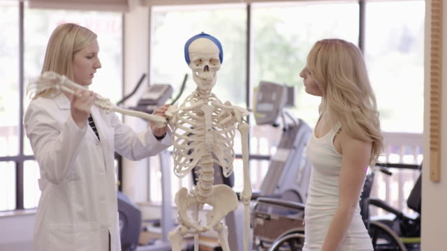 Physical therapist working with young adult female