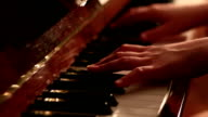 Pianist playing close up dolly shot