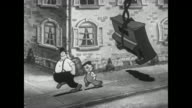 Piano movers drop piano they were hoisting after Betty Boop invites them to a party
