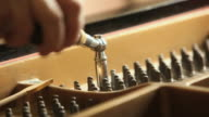 CU FOCUS PAN Piano tuner using a tuning hammer to adjust pins on a grand piano/ Chelsea, Michigan, USA
