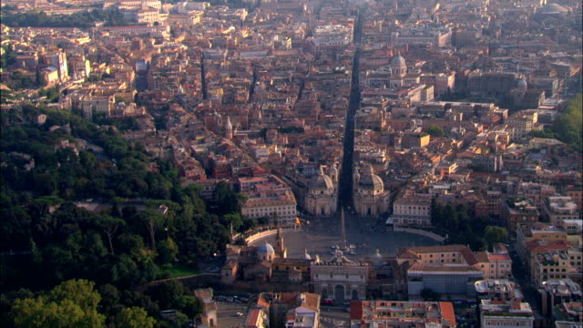 Piazza Del Popolo And Northern Gate  - Aerial View - Latium, Rome, Italy