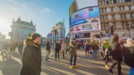 Piccadilly Circus in London at sunset.