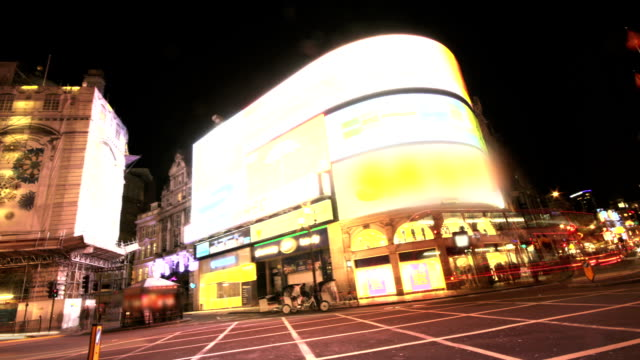 Piccadilly Circus night timelapse. HD
