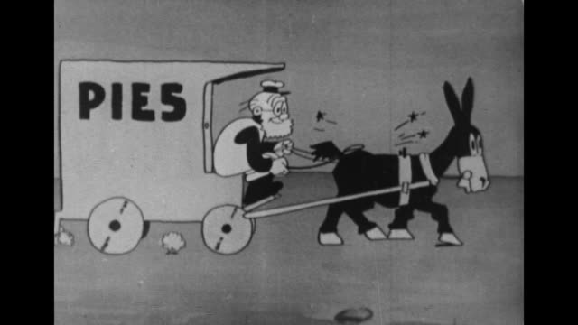 A pie delivery man drives a carriage pulled by a stubborn mule