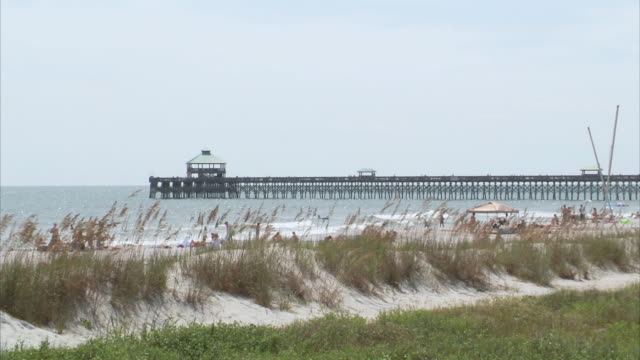 WS Pier stretching into ocean / Folly Beach, South Carolina, United States