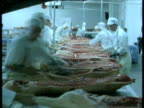 Pig carcasses on conveyor belt in meat processing factory, UK