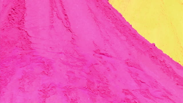 CU, Pile of pink and yellow powder for Holi Festival of Colors, Jaipur,Rajasthan, India