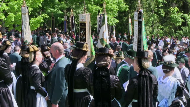 MS Pilgrimage of societies for traditional costumes at abbey Maria Eck near Siegsdorf, Chiemgauer Alps / Siegsdorf, Bavaria, Germany