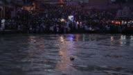 Pilgrims at riverbank, Ganges River, Haridwar, Uttarakhand, India