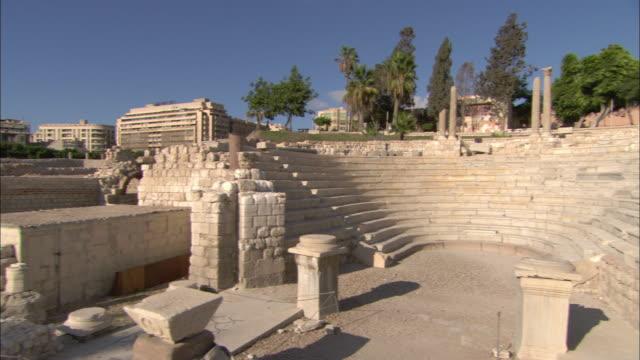 Pillars, plinths and stone walls remain in Alexandria, Egypt.
