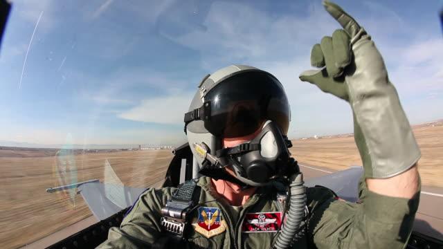 WS F-16 pilot inside cockpit during takeoff, Aurora, Colorado, USA